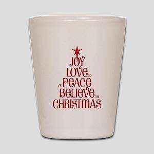 Joy Love Peace Believe Christmas Word Tree Shot Gl