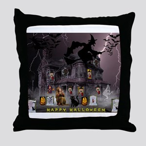 Witches Haunted House Throw Pillow