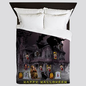 Witches Haunted House Queen Duvet