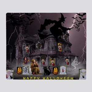 Witches Haunted House Throw Blanket