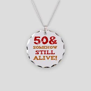 50th Birthday Gag Gift Necklace Circle Charm