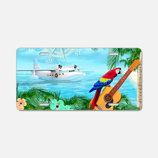 Tropical Travels Aluminum License Plate