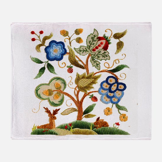 Tree of Life Embroidery Throw Blanket