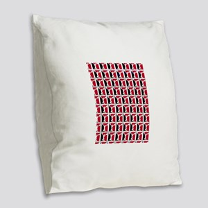 Black and Red Cheerleader Burlap Throw Pillow