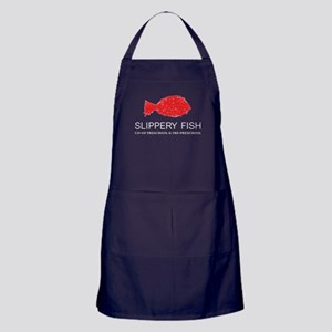 slippery fish logo white text Apron (dark)