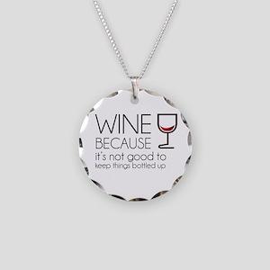 Wine Bottled Up Necklace Circle Charm