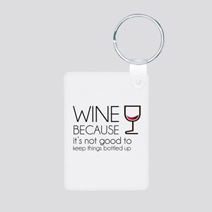 Wine Bottled Up Aluminum Photo Keychain