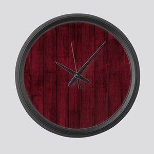 Rustic Burgandy Red Painted Faux Wood Large Wall C