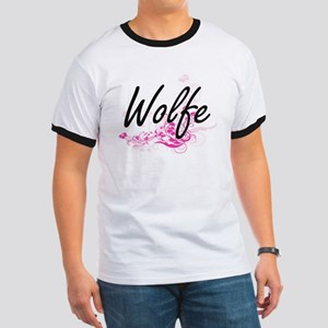 Wolfe surname artistic design with Flowers T-Shirt