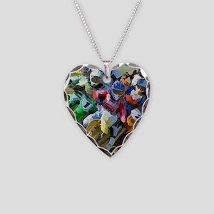 Motocross Necklace Heart Charm