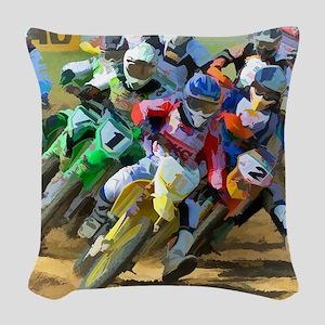 Motocross Woven Throw Pillow