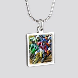 Motocross Silver Square Necklace