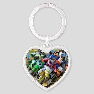 Motocross Heart Keychain