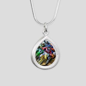 Motocross Silver Teardrop Necklace