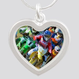 Motocross Silver Heart Necklace