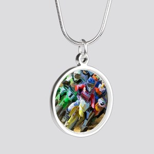 Motocross Silver Round Necklace