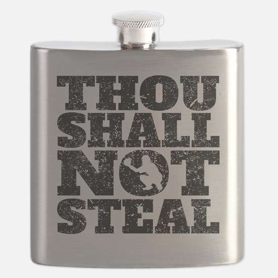 Thou Shall Not Steal Baseball Catcher Flask