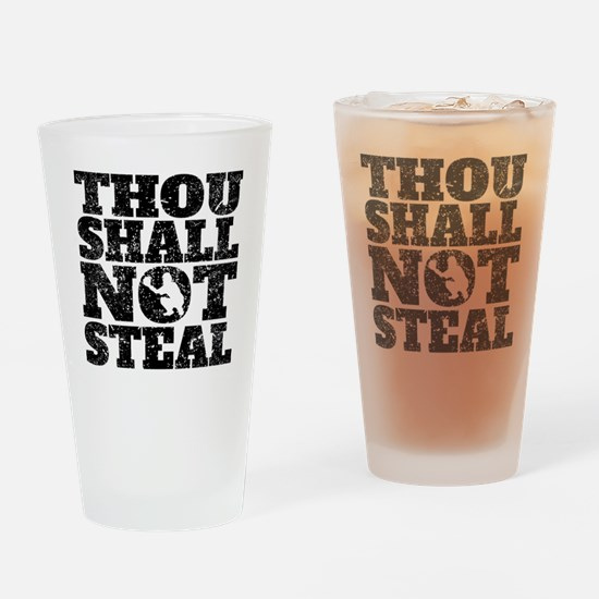Thou Shall Not Steal Baseball Catcher Drinking Gla