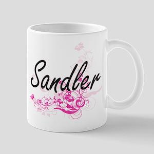 Sandler surname artistic design with Flowers Mugs