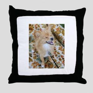 Laughing Dog Throw Pillow