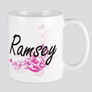 Ramsey surname artistic design with Flowers Mugs