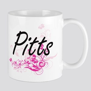 Pitts surname artistic design with Flowers Mugs