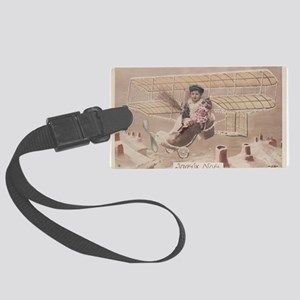 Christmas Boy Fly Airship Vintag Large Luggage Tag