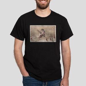 Christmas Boy Fly Airship Vintage Dark T-Shirt