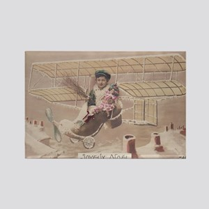 Christmas Boy Fly Airship Vintage Rectangle Magnet