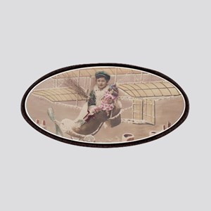 Christmas Boy Fly Airship Vintage Patch