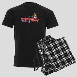 Vintage Car Santa Men's Dark Pajamas