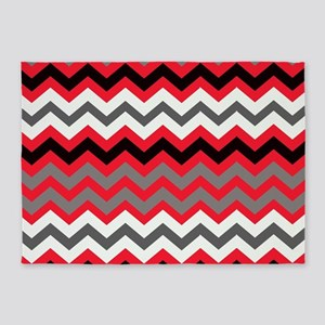 Red Black Gray and White Zigzags 5'x7'Area Rug