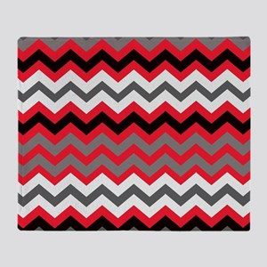 Red Black Gray and White Zigzags Throw Blanket