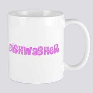 Dishwasher Pink Flower Design Mugs