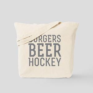 Burgers Beer Hockey Tote Bag