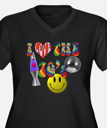 Cute Disco Women's Plus Size V-Neck Dark T-Shirt