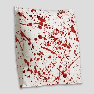 Blood splatter Burlap Throw Pillow