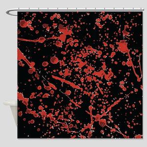 Blood Splatter on black Shower Curtain