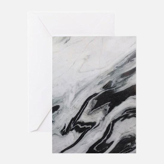 modern black white marble Greeting Cards