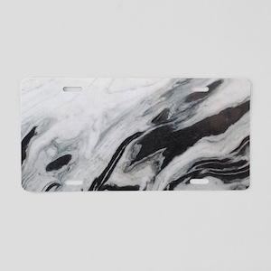 modern black white marble Aluminum License Plate