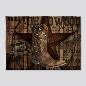 Grunge Cowboy Boots Western Country 5 X7 Area Rug