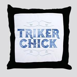 Triker Chick, Distressed Throw Pillow