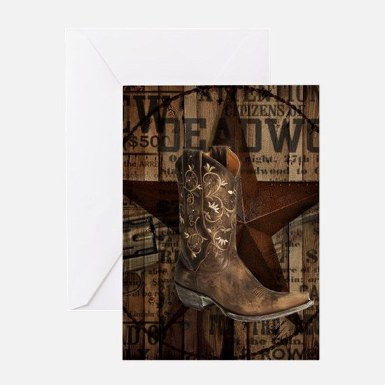 grunge cowboy boots western country Greeting Cards