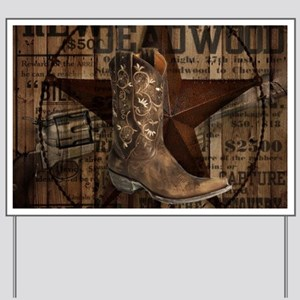 grunge cowboy boots western country Yard Sign