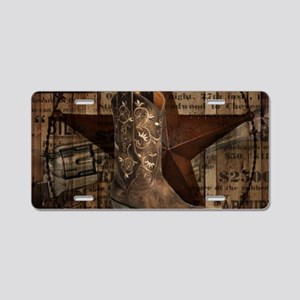 grunge cowboy boots western Aluminum License Plate