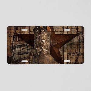 grunge cowboy boots western Aluminum License Plate