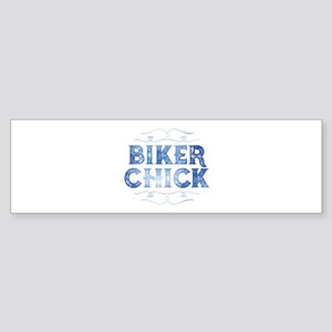 Biker Chick Distressed Bumper Sticker