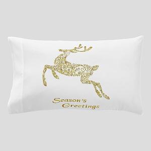 Filigree Metallic Christmas Reindeer Pillow Case