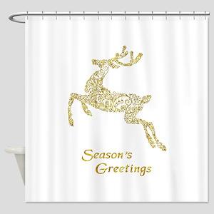 Filigree Metallic Christmas Reindee Shower Curtain
