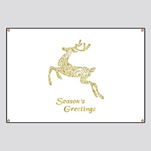 Filigree Metallic Christmas Reindeer Banner
